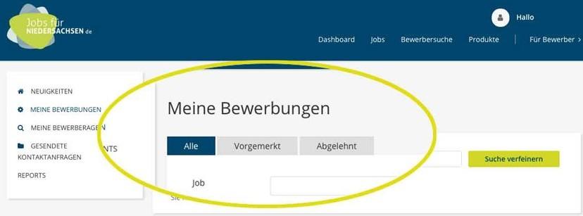 jobs für niedersachsen.de  Bewerbungsmanagement
