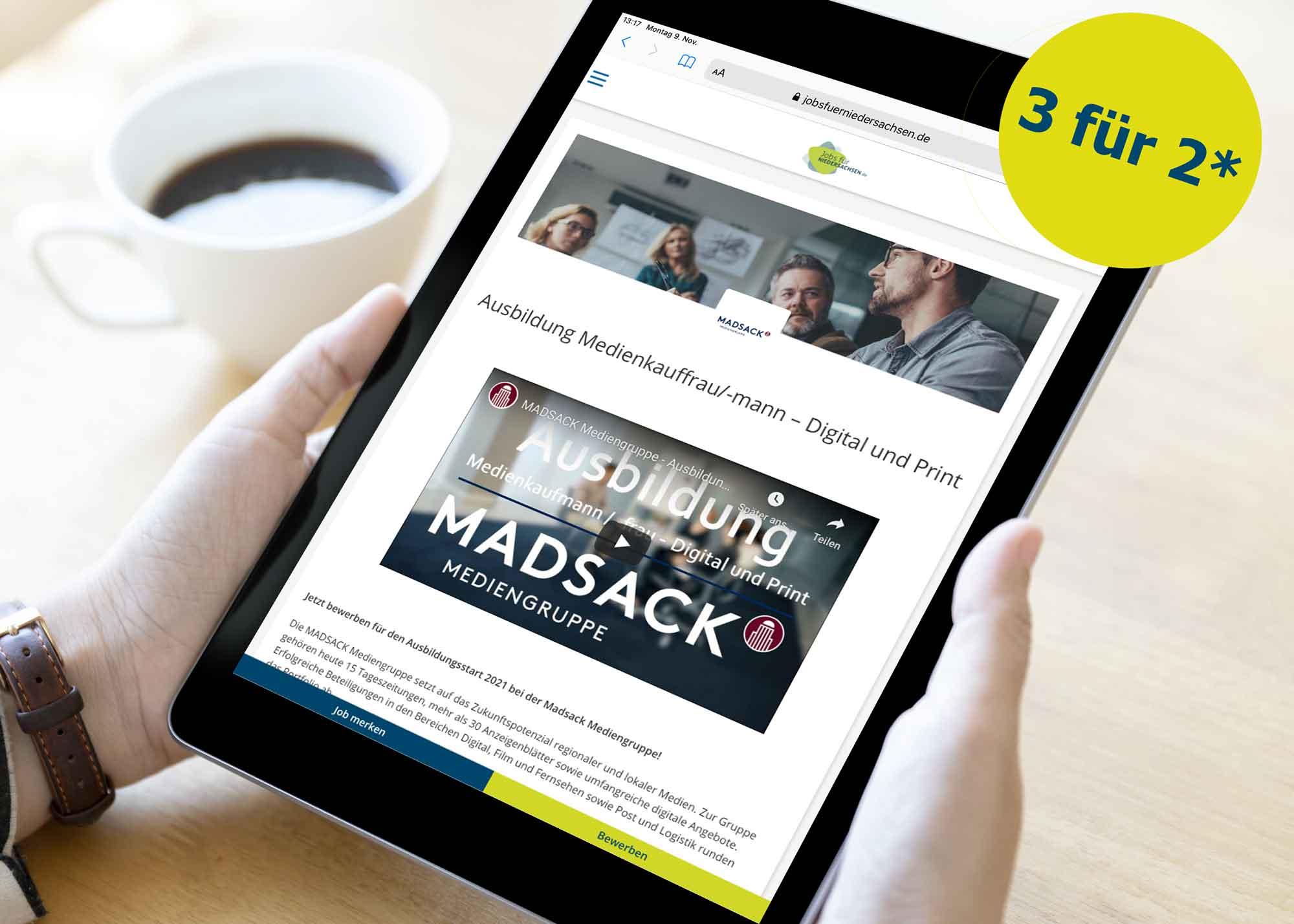 JobsfürNiedersachsen.de Online Videostellenanzeige 360