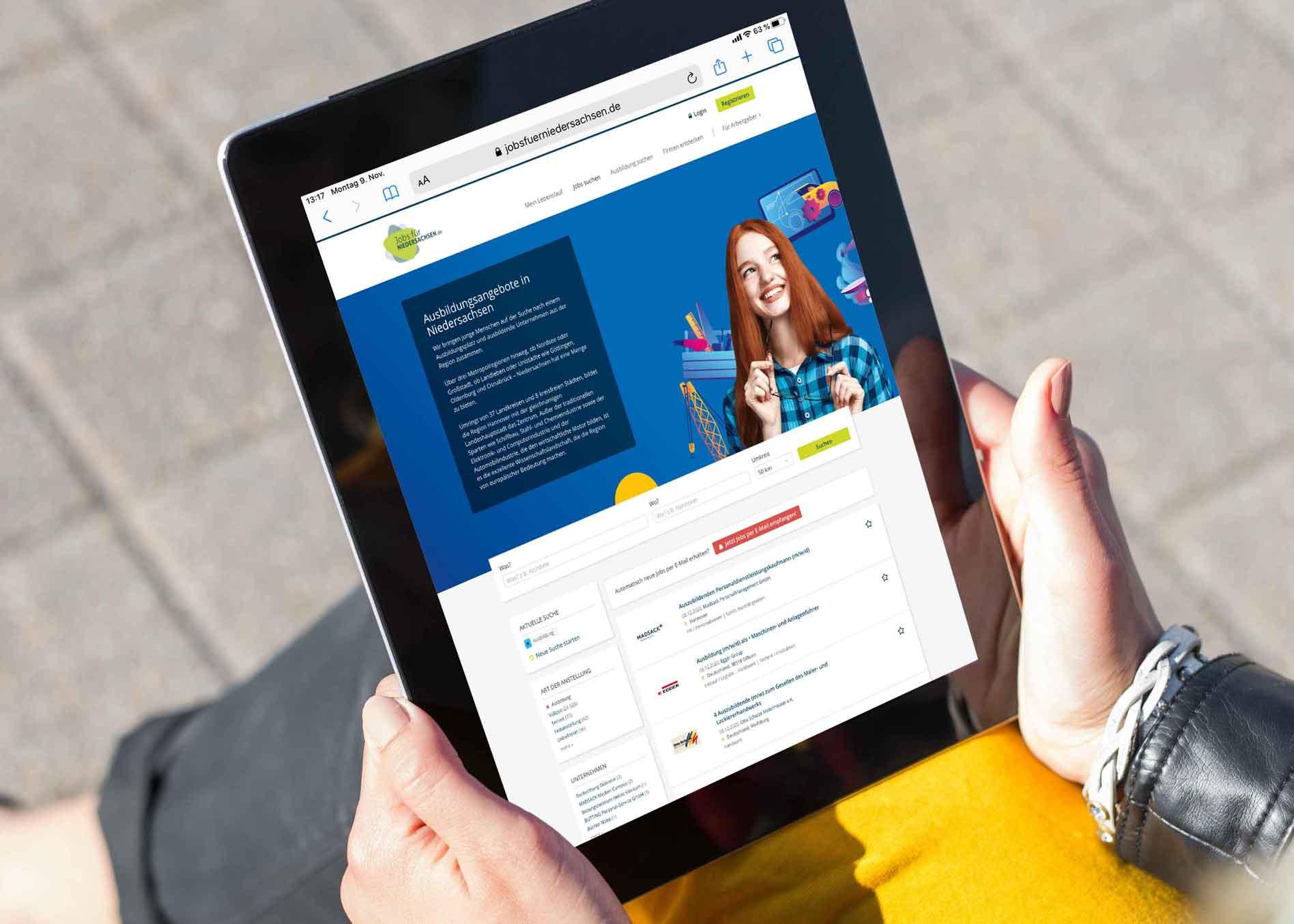 jobs für niedersachsen.de Online Ausbildungsanzeigenbild